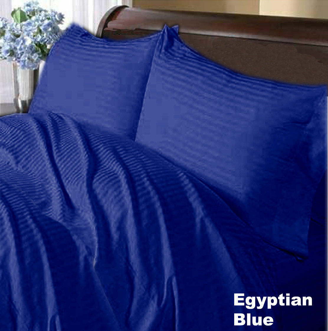 BEDDING ITEMS-SHEET SET DUVET FITTED 1000TC EGYPTIAN COTTON EGYPTIAN blueeeeE STRIPE