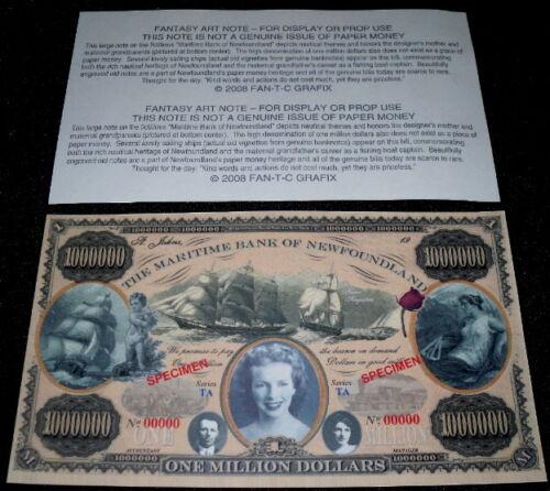 MAGNIFICENT MARITIME NEWFOUNDLAND $1M FANTASY ART BILL!