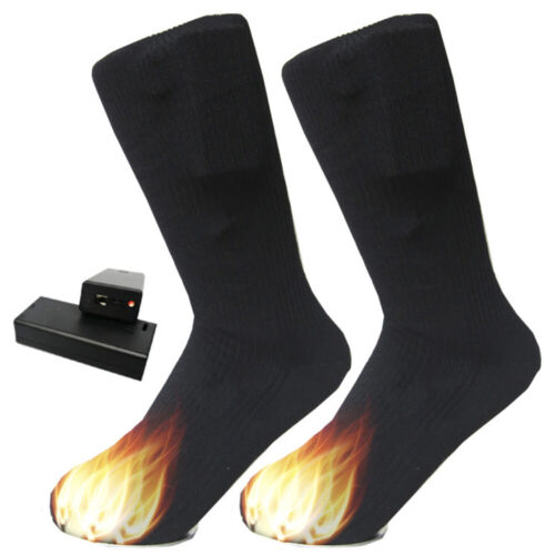 Details about  /Black Electric Heated Hot Boot Socks Feet Foot Warmer Long Cotton Socks USA