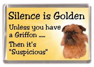 Griffon-Bruxellois-Dog-Fridge-Magnet-034-Silence-is-Golden-034-by-Starprint