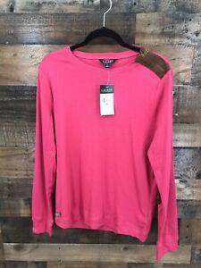 New-Lauren-Ralph-Lauren-Women-039-s-Pink-Long-Sleeve-Tshirt-with-Elbow-Patch-Detail