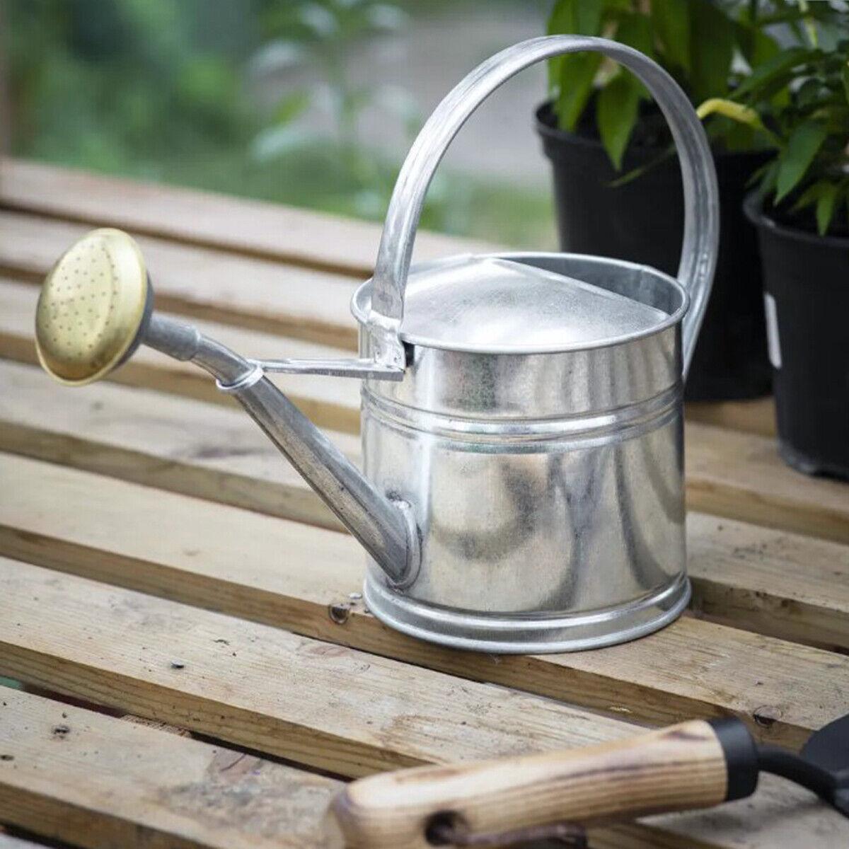 Grey Galvanised Steel Metal House Plant Indoor Outdoor Garden 1.5 L Watering Can