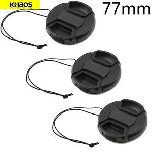 3x-Khaos-77mm-Center-Pinch-Lens-Cap-For-Canon-Nikon-Sony-DSLR-Camera