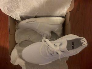 bfbcb741ea123 Adidas NMD R1 Primeknit Shoes Tokyo Japan Triple White Mens Size 7.5 ...