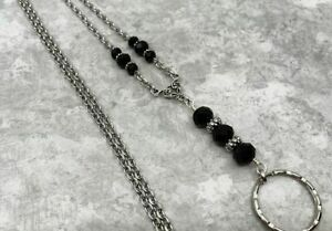 Black-amp-Silver-Chain-Lanyard-with-Abacus-Beads-Badge-ID-Holder-Breakaway-Opt