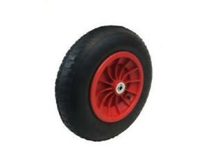 "14"" Red Pneumatic Wheelbarrow Wheel With 20 Mm Roller Bearings (3.50/4.00-8)-afficher Le Titre D'origine"