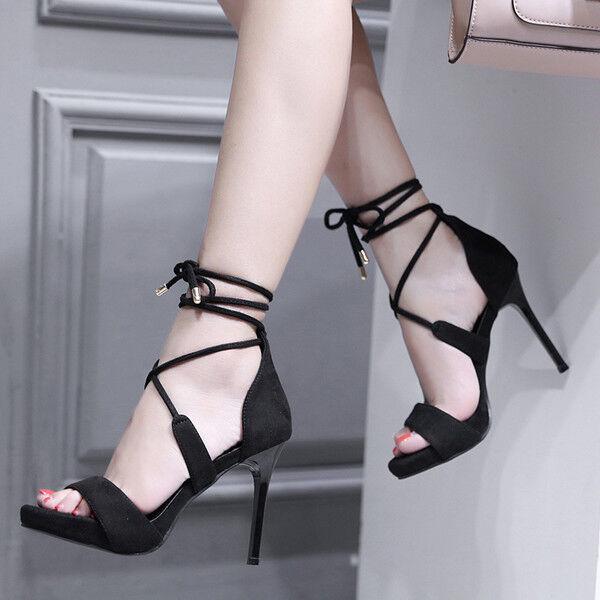 Sandali stiletto eleganti sabot 10 cm nero CW857 ciabatte simil pelle eleganti CW857 nero 839e74
