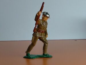 BARCLAY Toy Soldier w/Rifle Looking back RARE #764 MANOIL 1930's Tin Hat