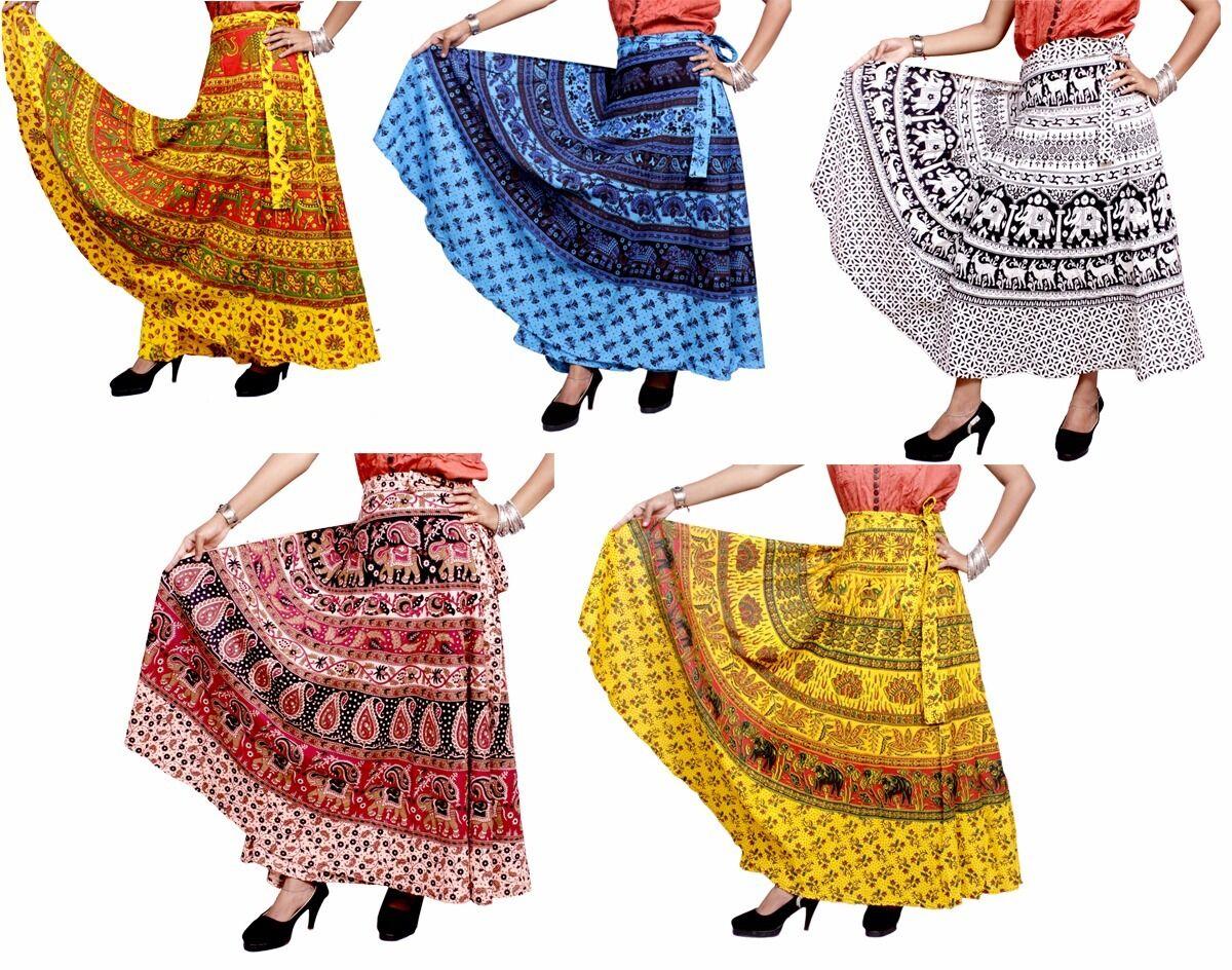 Apparels India 10Pcs Hippie Gypsy USA Cotton Wrap Around Skirt Wholesale Lot