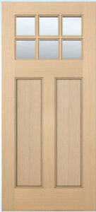 Exterior Entry Craftsman Flat Panel Hemlock Solid Stain Grade 6 Lite on