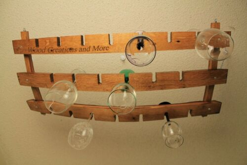 Hanging Wine Glass Holder Made w//  Barrel Stave Staves Winery 18+