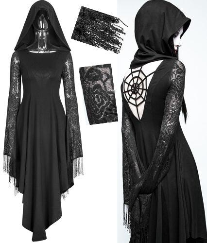 Robe gothique lolita burlesque capuche dentelle pampille dos nu toile Punkrave