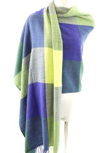 B29 Plaid Check Bright Blue Lime Green Purple Fringe Knit Wrap Shawl Scarf
