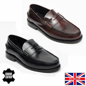 Lucini Men S Goodyear Welted Italian Leather Penny Loafer Black