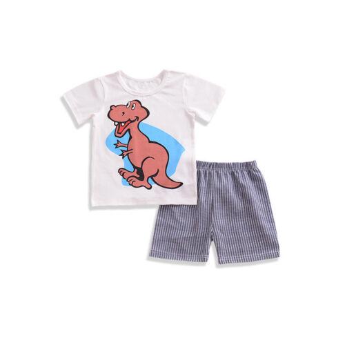 2pcs Toddler Baby boys summer Clothes T-shirt /& short Pants kids cartoon Outfits