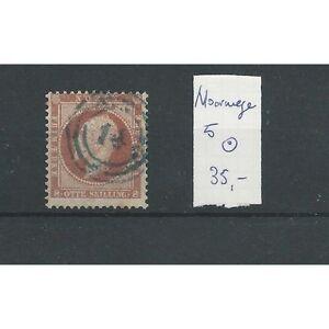 Noorwegen-5-034-nummerstempel-14-034-prachtig-VFU-gebr-CV-35