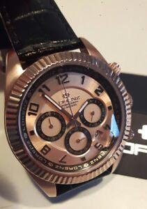 Detalles de Reloj Hombre Chrono, Lorenz, Caja PVD Oro Rosa, Negro, 38mm, 100 Montana,