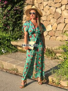 388397e10214 RARE NWT ZARA SS18 GREEN FLORAL PRINT WRAP JUMPSUIT WITH BELT 3066 ...