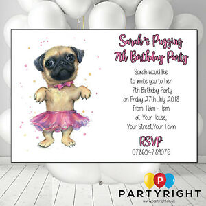 Personalised Pug Birthday Party Invite Invitation Pack Of 12 Ebay