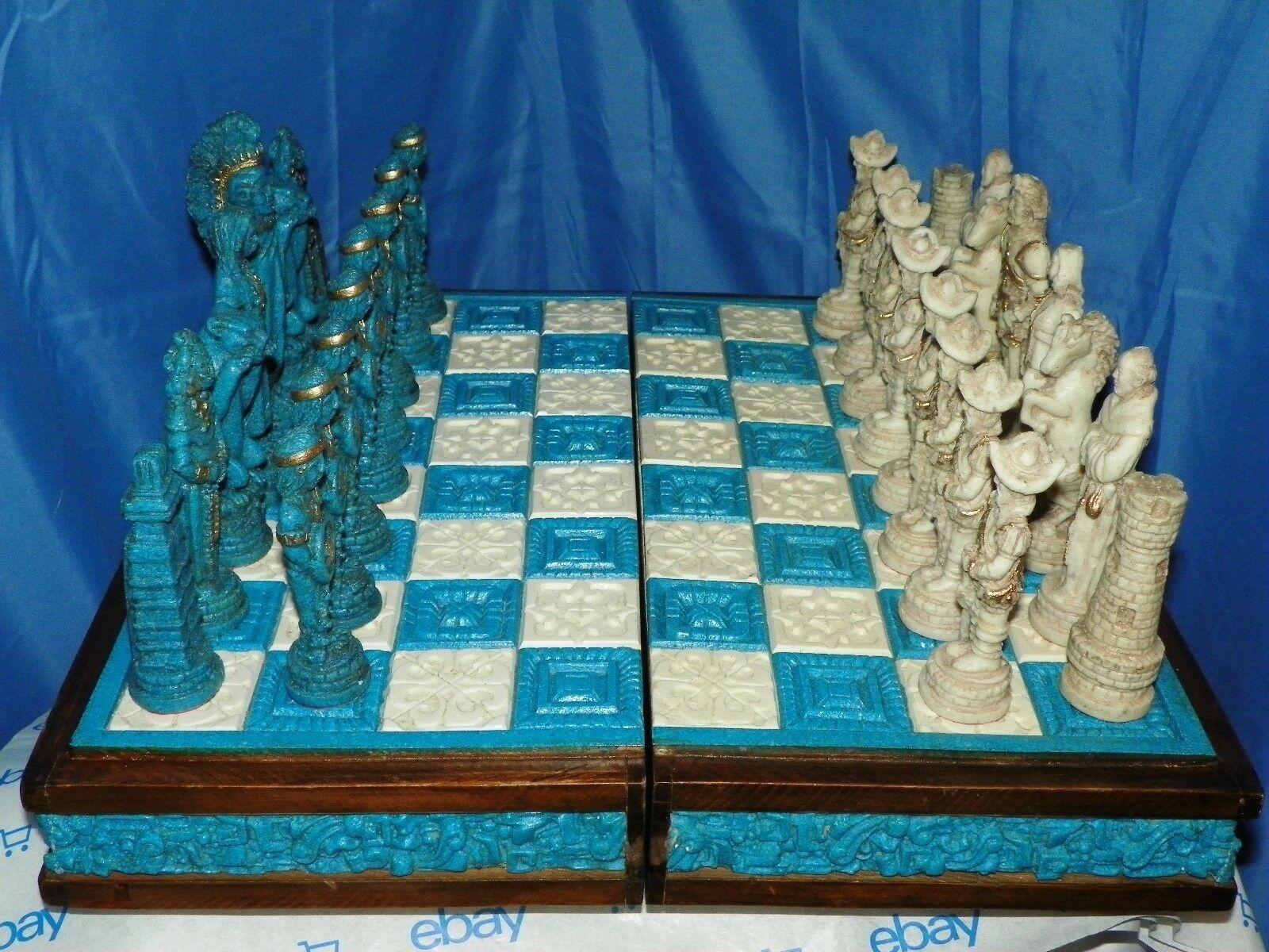 Auténtico Conjunto de juego de ajedrez Mexicana-azteca indios-español conquistador Tallada