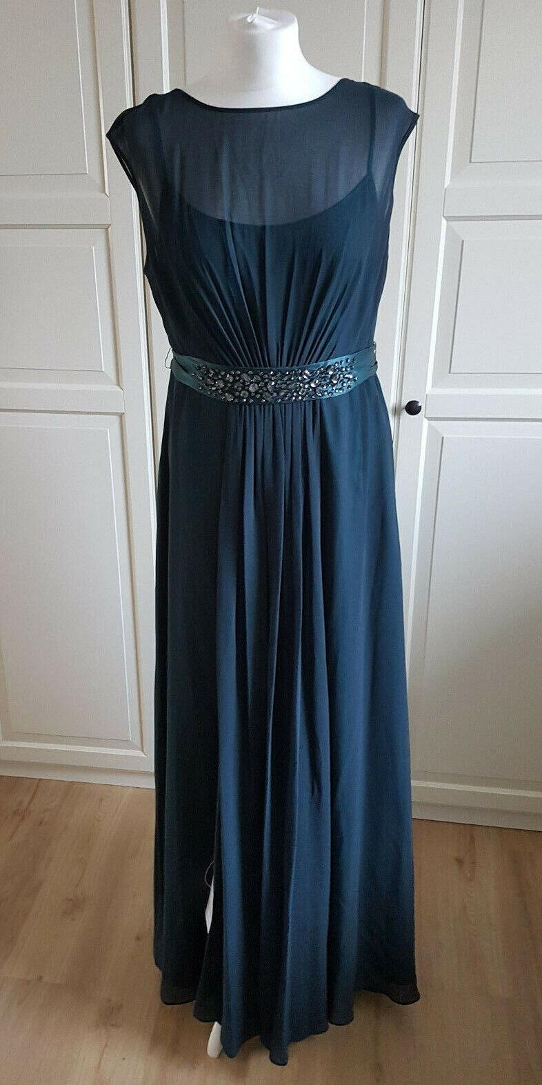 COAST  Lori Lee Maxi  Abendkleid Ballkleid NEU mit Etikett Farbe Petrol Gr 42  L