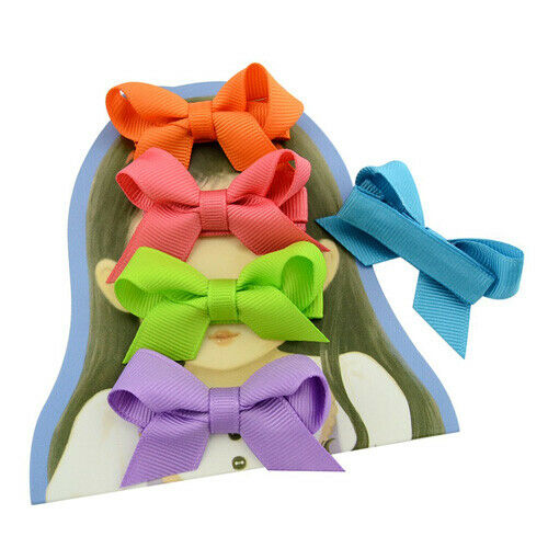 "2.2/"" small Baby Girls kids Ribbon Hair clip Bows clips cute bow School Pair"