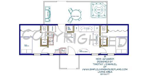 2bedrms2baths Tiny House design ala cart 12/'x44/' 539sqft