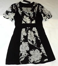 BNWT FRENCH CONNECTION UK 8 EUR 36 BLACK WHITE FLORAL PARTY A LINE TEA  DRESS