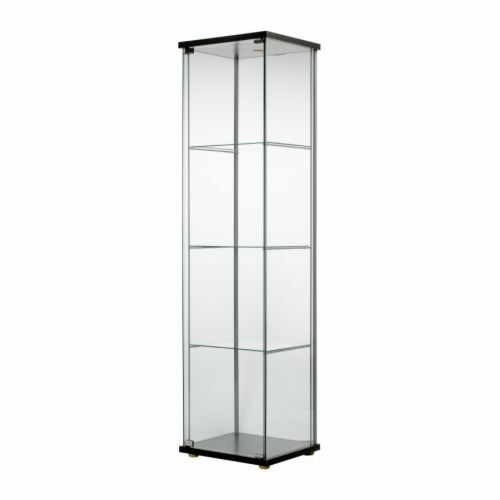 Glass Door Display Cabinet Black Brown Retail Boutique Jewelry