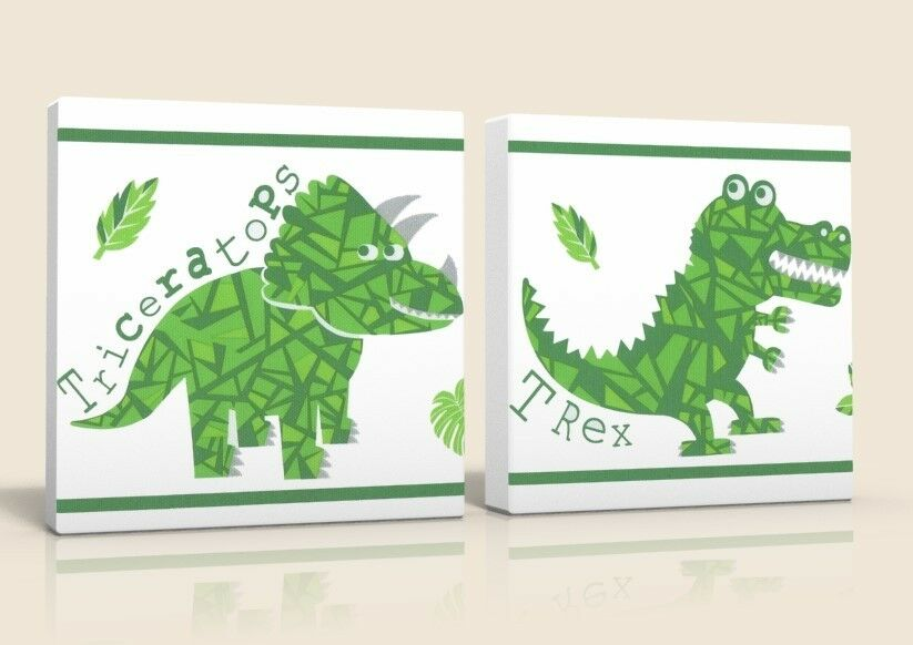 2 X DEEP EDGE BOX  CANVAS PICTURES LITTLE LITTLE LITTLE DINOSAURS T REX  BRAND NEW 5b17e5