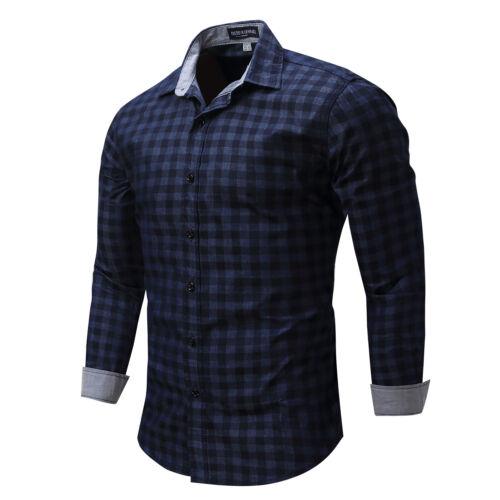 New Men/'s Slim Fit Casual Shirt Long Sleeve Dress Shirts Plaid Cotton Shirt Tops