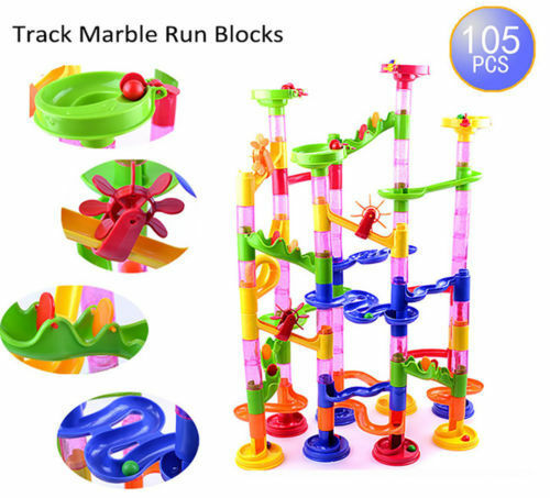 105pcs Kids DIY Marble Race Run Construction Toy Maze Ball Track Building Blocks