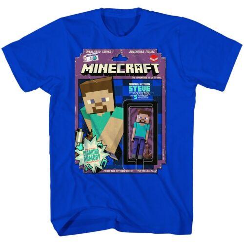 Mojang Boys Minecraft Steve Pickaxe Tool Diamond Armor Tee Brt Blue New shirt