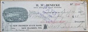 Grocery-Store-Vignette-1930-Bank-Check-Benecke-Cheese-Denmark-Wisconsin-WI
