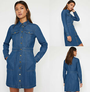 Warehouse-NEW-Snap-Front-Long-Sleeve-Mini-Denim-Shirt-Dress-in-Blue-Size-6-16