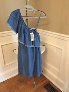 550ed0dfc80b Image is loading NWT-Splendid-158-Indigo-Dye-One-shoulder-Dress-
