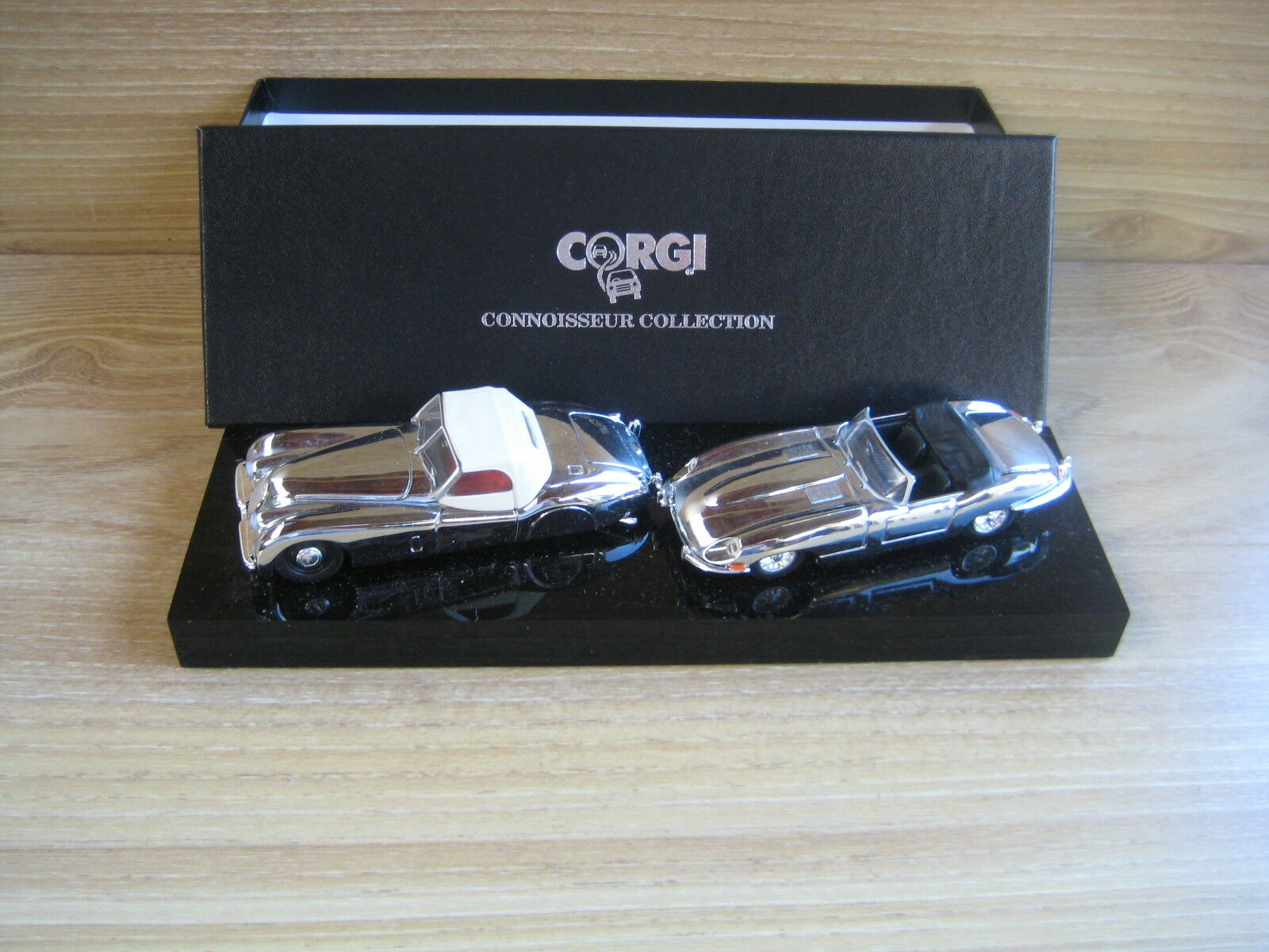 CORGI CONNOISSEUR COLLECTION   JAGUAR XK120 & E TYPE  SET  CHROME PLATED