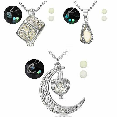 Round Moon Glow In The Dark Pendant Necklace Luminous Moon Silver Chain UK