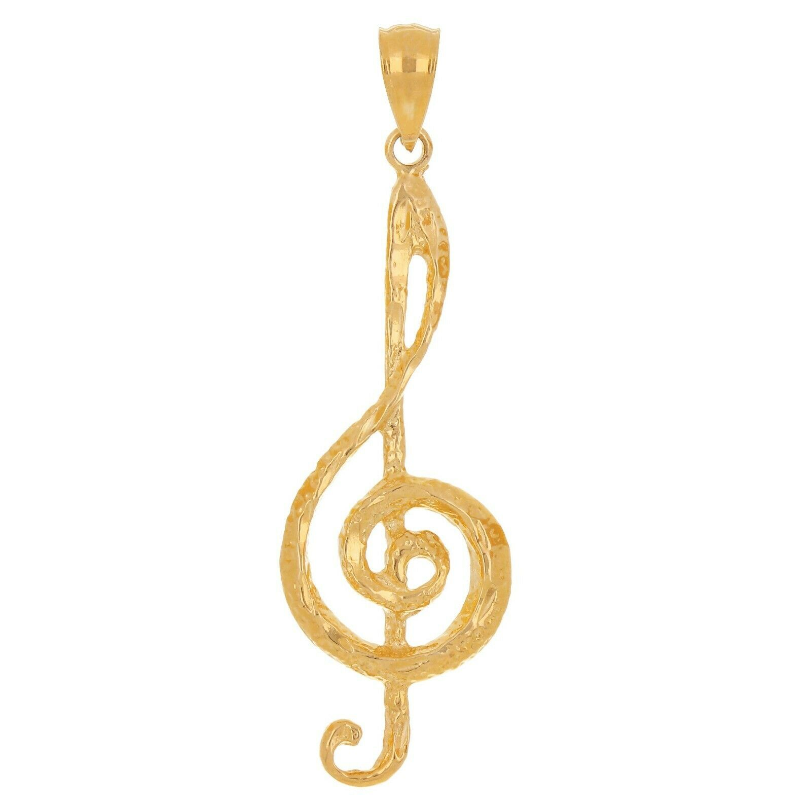 Solid 14k Rose Gold  Diamond  Treble clef /& Eight Note Music Pendant Necklace