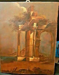 ANTICA-ROMA-DIPINTO-AD-OLIO-SU-TAVOLA-XIX-Sec-ROVINE-ROMANE-old-italian-paint