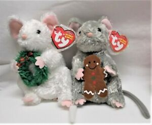 NWT 2 Ty Beanie Babies Stirring Garlands Christmas Mouse Mice 2007 Plush