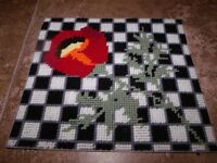 Beautiful Checkerboard Poppy - Plastic Canvas Kit Wall Hanging