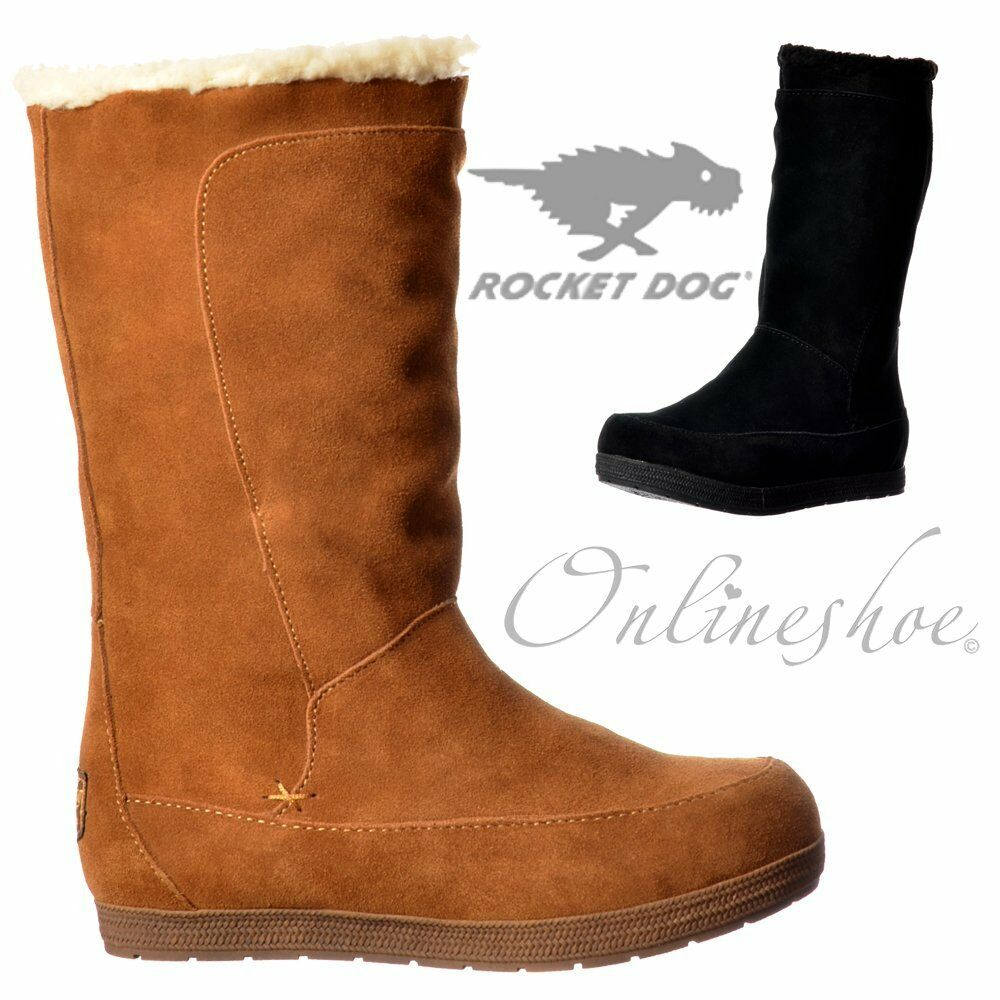 Damen Rocket Dog Terri Wadenhoch Veloursleder Winterstiefel Aus Fleece Schwarz