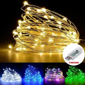 50-100-LEDs-USB-Operated-Mini-Silver-Copper-Wire-String-Fairy-Lights-Lamp-5-10M