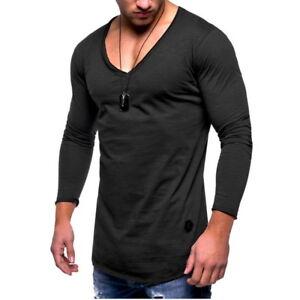Herren-Longsleeve-Langarm-V-Ausschnitt-T-Shirt-Shirt-Sweatshirt-Hemde-Oberteil