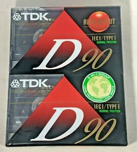 2 PACK TDK D90  (1986) Blank Audio Cassette Recording Tape 90 Minutes NEW SEALED