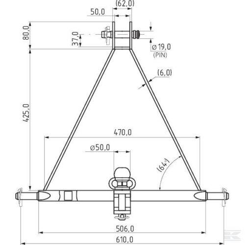3 Punto vinculación enganche de remolque-Compacto Tractor montado Remolque Cat 1 triángulo Pin