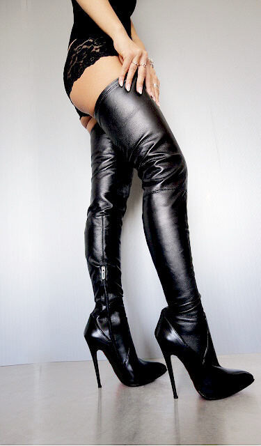 CQ COUTURE NEW OVERKNEE STRETCH BOOTS STIEFEL STIVALI STRETCH OVERKNEE REAL LEATHER BLACK NERO 39 e6cd5f