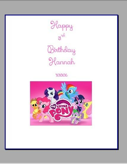 Personalised chocolate wrappers party bag favours favors MY LITTLE PONY