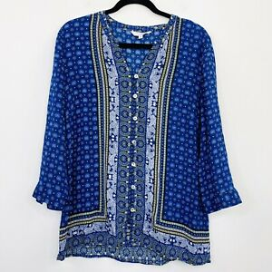 W-Lane-Womens-Top-Tunic-Blue-Paisley-Viscose-Button-Front-Long-Sleeve-Size-12
